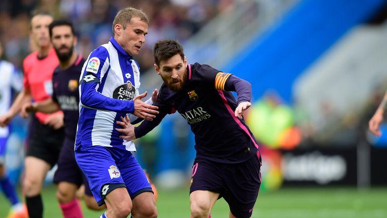 Lionel Messi takes on goalscorer Bergantinos