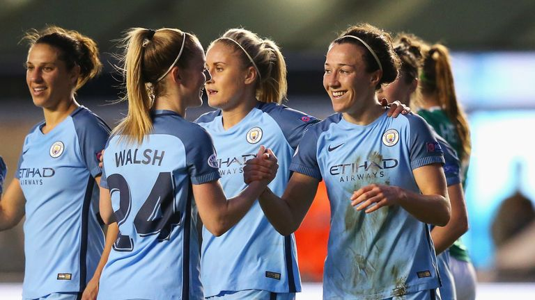 Lucy Bronze celebrates scoring the winner for City