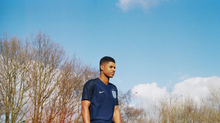 Marcus Rashford in the new England away kit, which will be worn for the first time in a friendly against Germany on Wednesday. Pic: Lottie Bea Spencer for Nike