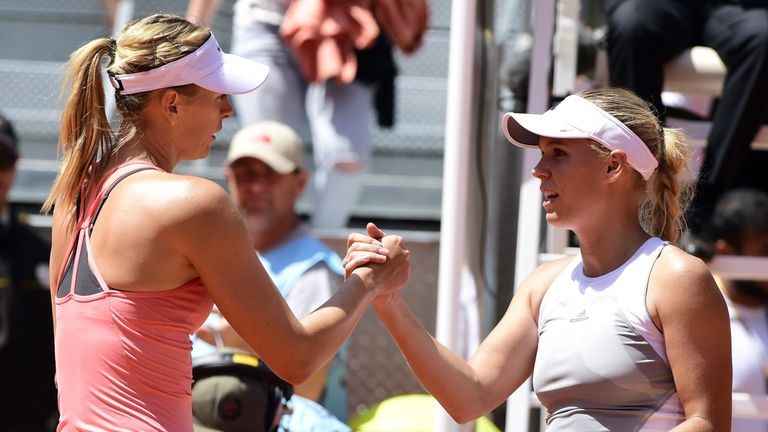 Caroline Wozniacki (R) has described Sharapova's wildcard for the Porsche Grand Prix in Stuttgart as 'disrespectful'