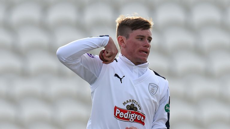 Mason Crane in action during a friendly match between Sussex and Hampshire at the 1st Central County Ground