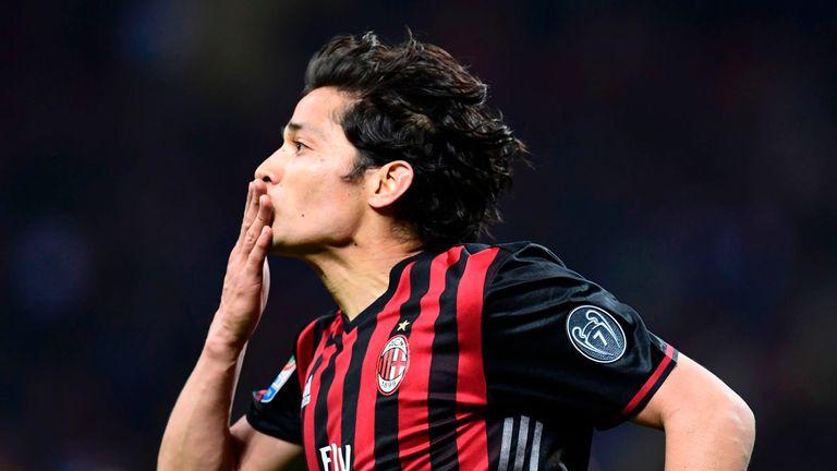 AC Milan's Chilian midfielder Mati Fernandez celebrates
