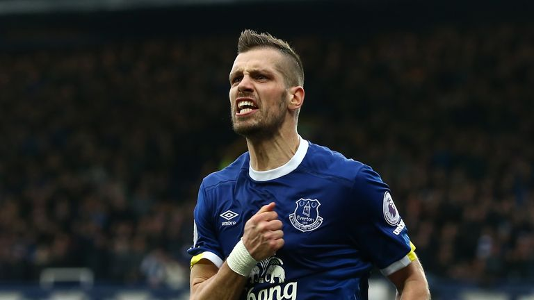 Morgan Schneiderlin of Everton celebrates scoring his first goal for the club