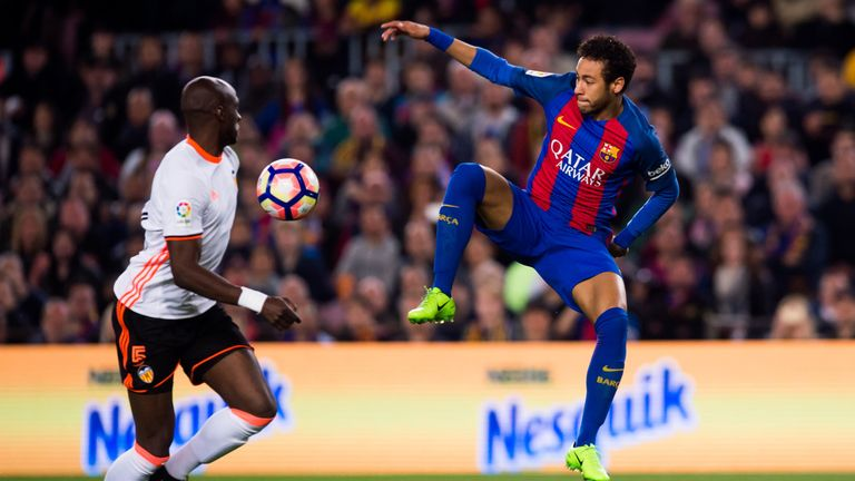 Eliaquim Mangala and Neymar battle for the ball