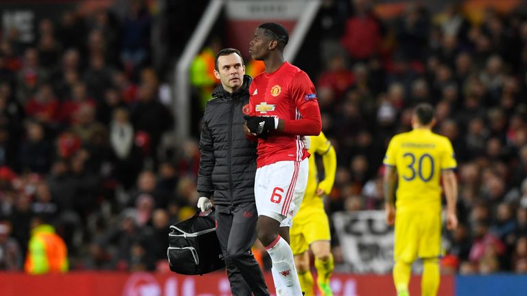 United midfielder Paul Pogba went off with a suspected hamstring injury in the second half