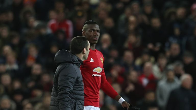 Paul Pogba limps off during Manchester United's Europa League match against Rostov and is a doubt for the Middlesbrough game this weekend