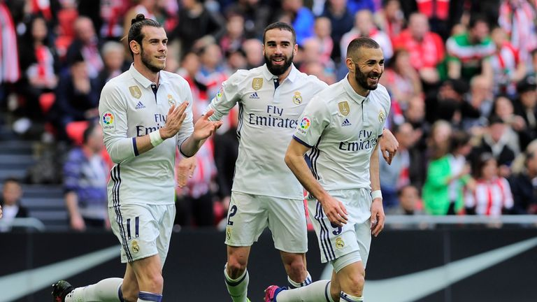Real Madrid's Karim Benzema celebrates after scoring against Athletic Bilbao