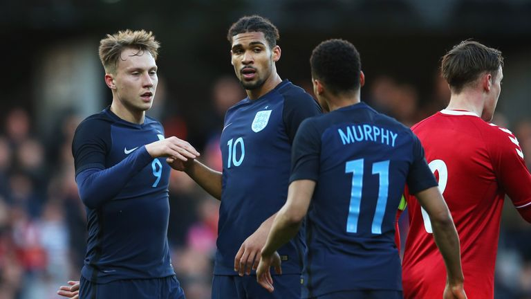Ruben Loftus-Cheek celebrates scoring for England under-21's
