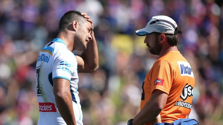 Jarryd Hayne was injured while competing for a high ball