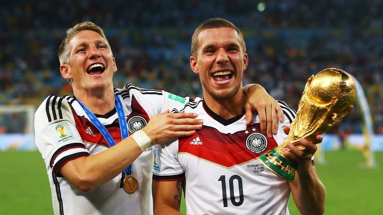 Bastian Schweinsteiger (left) and Lukas Podolski were part of Germany's side that won the 2014 World Cup