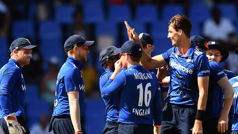 Steven Finn (R) became the third quickest England player to 100 ODI wickets