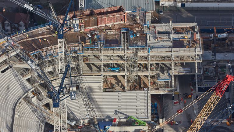 Work continues on the new stands at Tottenham's new stadium - pic credit Tottenham Hotspur FC