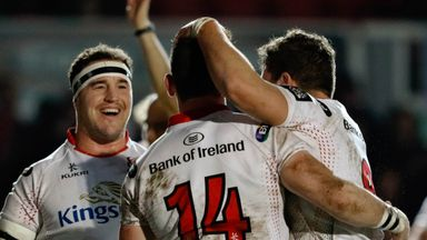 Ulster's Craig Gilroy celebrates his try against Newport Gwent Dragons