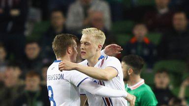 Icelnad's Hordur Magnusson (R) celebrates scoring the opening goal against Republic of Ireland