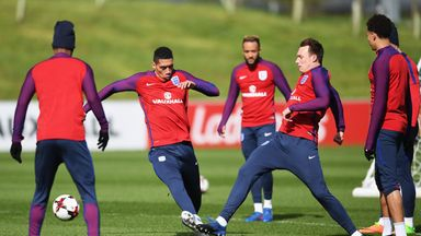 Chris Smalling and Phil Jones pictured during England training