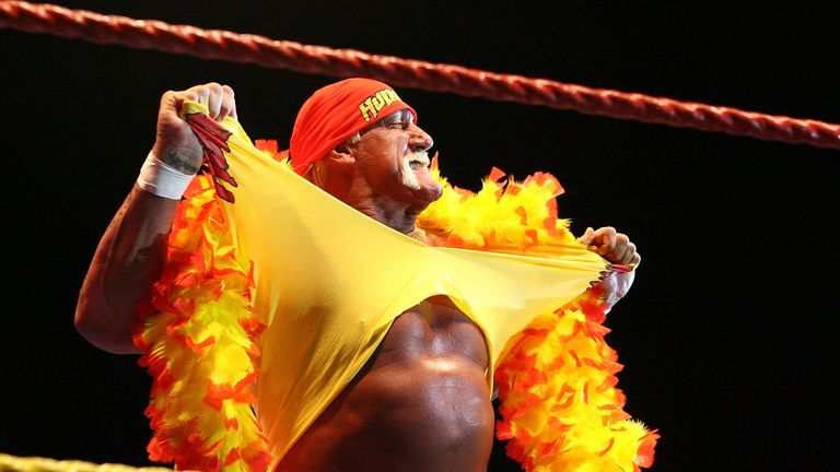 PERTH, AUSTRALIA - NOVEMBER 24:  Hulk Hogan rips his shirt prior to the bout against Ric Flair during his Hulkamania Tour at the Burswood Dome on November