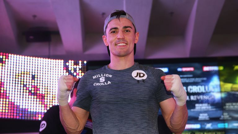 MANCHESTER, ENGLAND - MARCH 21:  Anthony Crolla looks on during a public workout ahead of his fight against Jorge Linares at the National Football Museum o