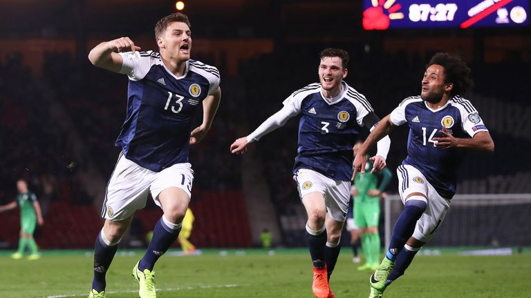 Chris Martin celebrates his late winner during the 2018 World Cup Qualifier between Scotland and Slovenia