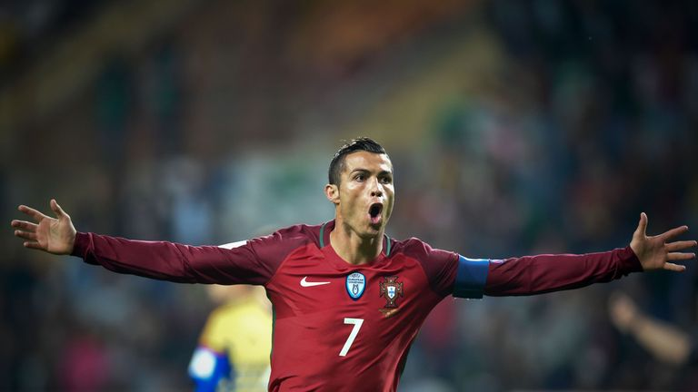 Portugal's forward Cristiano Ronaldo celebrates after scoring a goal during the WC 2018 football qualification match between Portugal and Andorra at the Mu