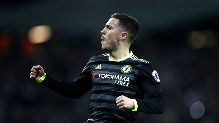 STRATFORD, ENGLAND - MARCH 06:  Eden Hazard of Chelsea celebrates after he scores his side first goal during the Premier League match between West Ham Unit