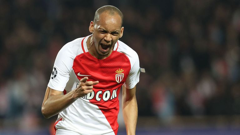 Monaco defender Fabinho celebrates his goal against Manchester City