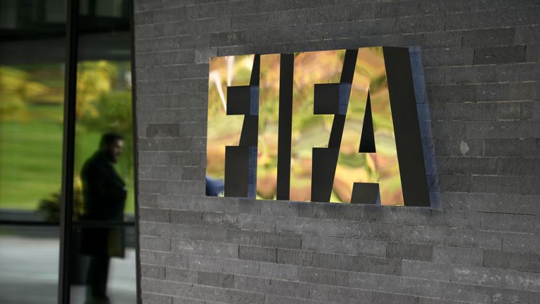 General view of the FIFA logo seen at the entrance of the world football's governing body headquarters in Zurich