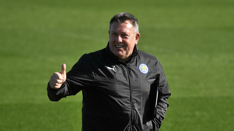 Craig Shakespeare during training prior to Leicester City's  Champions League Round of 16 match against Sevilla