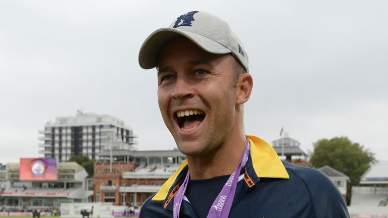 Jonathan Trott celebrates Warwickshire's Royal London One-Day Cup final success