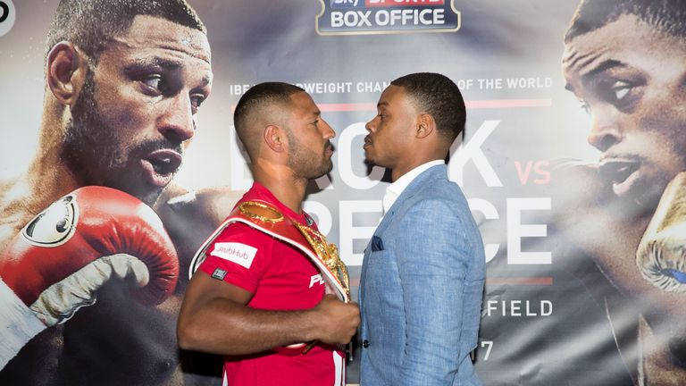 SHEFFIELD, ENGLAND - MARCH 22: Kell Brook and Errol Spence hold a press conference to announce their fight on 27th May 2017 at Bramall lane on March 22, 20