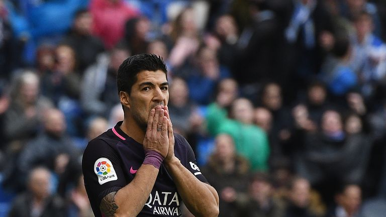 LA CORUNA, SPAIN - MARCH 12: Luis Suarez of FC Barcelona reacts after missing a goal opportunity during the La Liga match between RC Deportivo La Coruna an