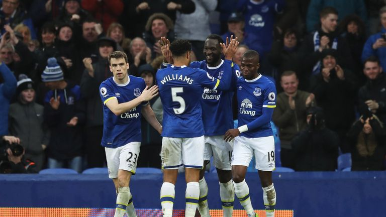 LIVERPOOL, ENGLAND - MARCH 18:  Romelu Lukaku of Everton (10)) celebrates as he scores their fourth goal with team mates during the Premier League match be