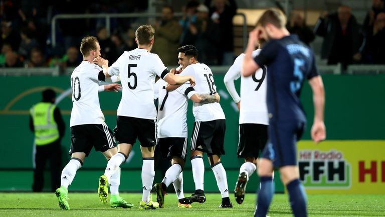 Nadiem Amiri celebrates during the U21 international friendly match between Germany and England at BRITA-Arena on March 24, 2017 in Wiesbaden, Germany.