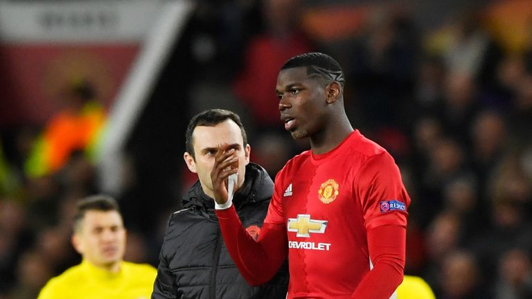 Paul Pogba leaves the pitch due to injury
