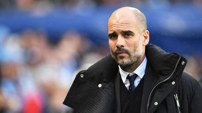 Pep Guardiola prior to kick-off at the Etihad Stadium