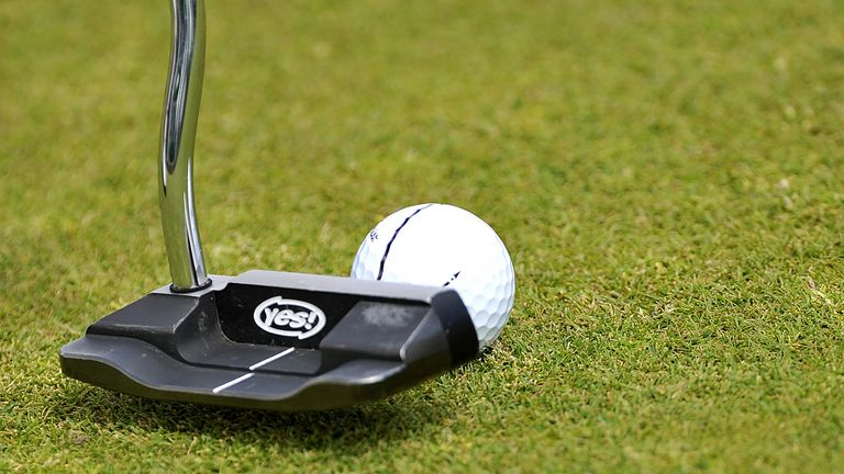 A general view of a putter and golf ball during The Open Championship