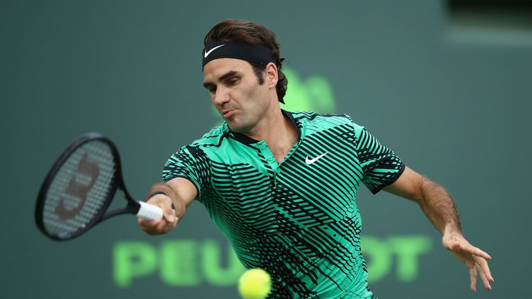 KEY BISCAYNE, FL - MARCH 25:  Roger Federer of Switzerland in action against Frances Tiafoe of USA at Crandon Park Tennis Center on March 25, 2017 in Key B