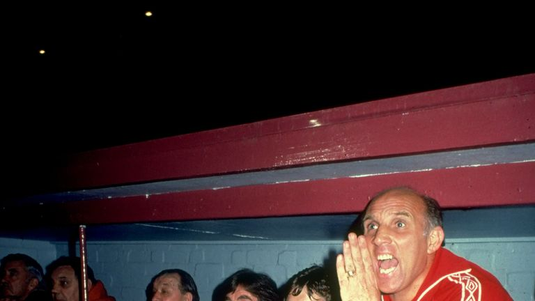 Undated image of Liverpool coach Ronnie Moran (right) shouting orders from the bench during a match