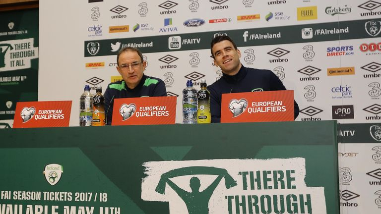 Republic of Ireland manager Martin O'Neill and Seamus Coleman during a press conference at the FAI National Training Centre, Dublin, ahead of clash v Wales