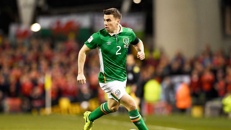 Seamus Coleman in action during the 2018 World Cup qualifier between Republic of Ireland and Wales at Aviva Stadium