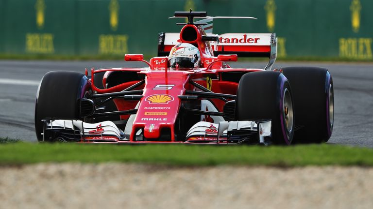 MELBOURNE, AUSTRALIA - MARCH 25: Sebastian Vettel of Germany driving the (5) Scuderia Ferrari SF70H on track during final practice for the Australian Formu