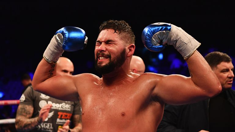 Tony Bellew celebrates his shock 11th-round TKO victory over David Haye