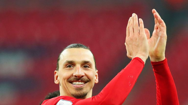 Zlatan Ibrahimovic celebrates after winning the EFL Cup Final