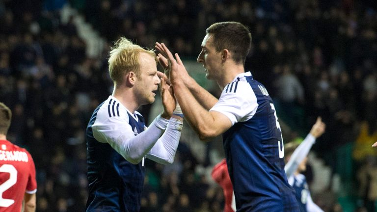 Steven Naismith goal celebration with Lee Wallace, Scotland v Canada, international friendly