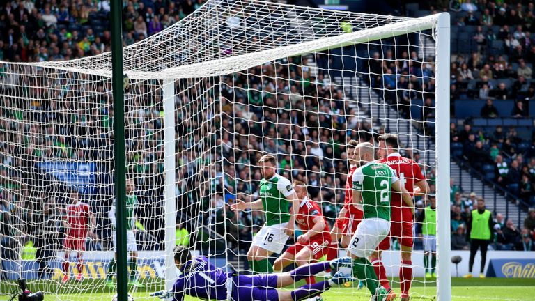 Hibs goalkeeper Ofir Marciano cannot prevent Ryan Christie from making it 2-0 with a free-kick