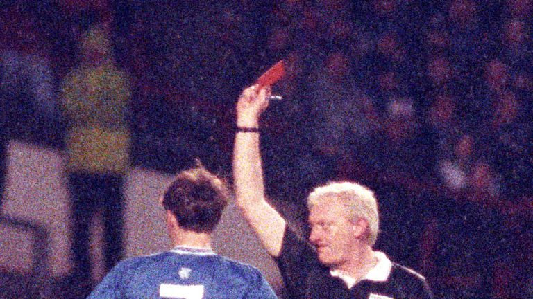 David Robertson is shown a straight red card after just six minutes of Rangers' 1-0 Scottish Cup semi-final win over Celtic in 1992