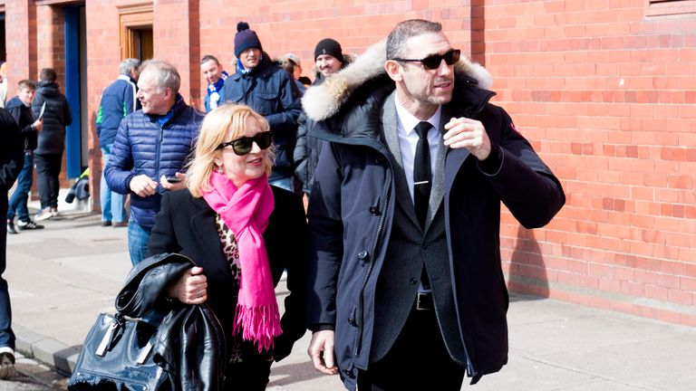 Former Arsenal defender Martin Keown, and his wife Nicola, arrive at Ibrox where their son Niall is playing for Partick Thistle