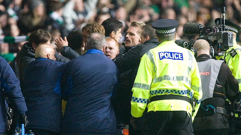 Neil Lennon and Ally McCoist clash at full-time after Celtic's 1-0 Scottish Cup replay win over Rangers in 2011