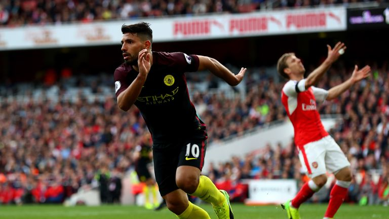 Sergio Aguero of Manchester City celebrates scoring his side's second goal