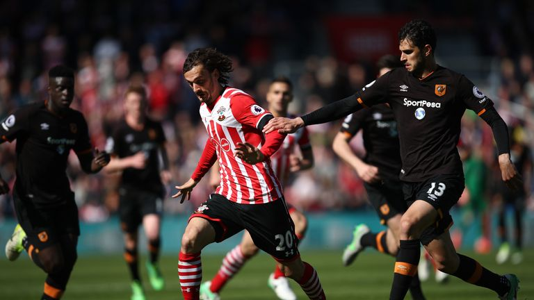 Andrea Ranocchia (right) pulls back Manolo Gabbiadini