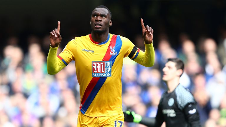 Christian Benteke celebrates scoring Crystal Palace's second goal against Chelsea
